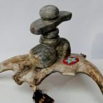 Alone Inuksuk on Antler Sculpture