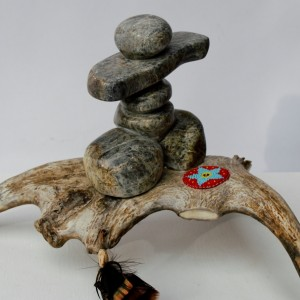 Alone Inuksuk on Antler Sculpture