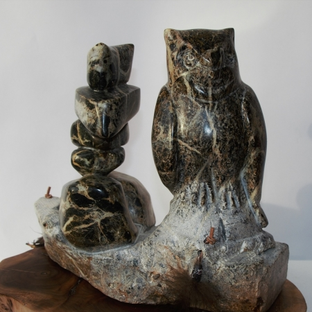 Owl and Inuksuk Sentinels Sculpture